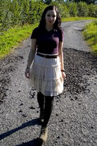 cream Zara skirt - dark gray veritas tights - puce Zara t-shirt