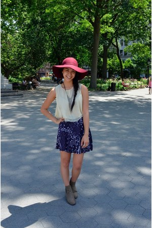thrifted top - booties cotton on boots - Forever 21 hat - H&M skirt