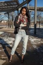 plaid H&M scarf - boyfriend jeans Aeropostale jeans - H&M sweater