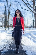 red H&M blazer - black Forever 21 bag - aviator H&M sunglasses