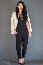 jumpsuit Urban Outfitters jumper - H&M blazer - asos heels