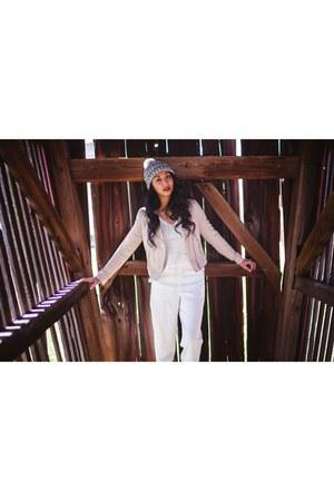 H&M sweater - beanie cotton on hat - H&M jacket - windsor heels