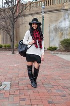 wool hat H&M hat - Marshalls boots - knit Zara sweater - plaid Forever 21 scarf