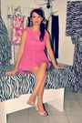 Bubble-gum-peplum-tagged-iloilo-dress-hot-pink-thrifted-heels