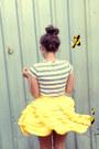Yellow-little-gracie-skirt-silver-striped-tee-mink-pink-t-shirt-silver-flats