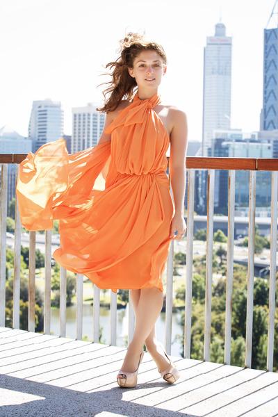 Light-orange-carla-zampatti-dress-neutral-zu-heels