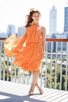 light orange Carla Zampatti dress - neutral zu heels
