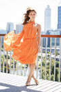 Light-orange-carla-zampatti-dress-neutral-zu-heels