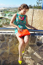 Orange-clutch-sportsgirl-bag-yellow-boohoo-heels-aquamarine-top