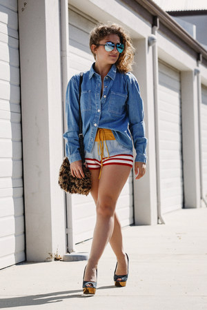red Mink Pink shorts - blue Mink Pink shirt - navy asos heels