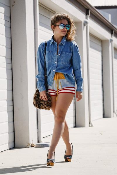red Mink Pink shorts - blue Mink Pink shirt - navy asos heels