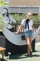 black Misano sandals - blue denim shorts asos shorts - white Grana t-shirt
