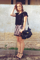 black Colette bag - cream vintage skirt - silver Amber Sceats necklace