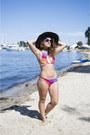 Black-ace-of-something-hat-hot-pink-bikini-gypsea-swimwear-swimwear
