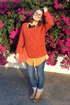 orange asos top - blue Sass and Bide jeans - light orange clutch Sportsgirl bag