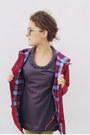 Chartreuse-skinny-american-apparel-jeans-maroon-anorak-vintage-jacket