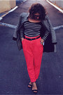 Black-cue-coat-black-asos-top-coral-high-waisted-forever-21-pants
