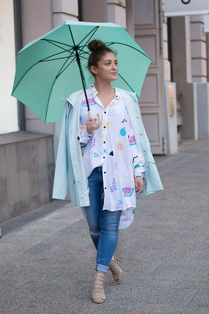 white Lazy Oaf shirt - light blue Rain jacket