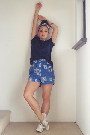 blue vintage shorts - navy cotton on t-shirt