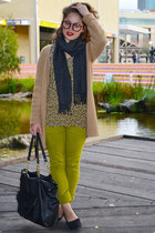 chartreuse jeans - mustard top - camel cardigan