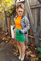 black Tanouk jacket - carrot orange halter top Tanouk top - green Tanouk skirt