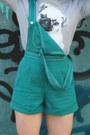 Teal-overalls-vintage-romper-heather-gray-pug-print-asos-jumper-silver-flats