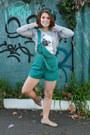 Heather-gray-pug-print-asos-jumper-teal-overalls-vintage-romper-silver-flats