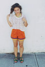 Carrot-orange-zig-zag-trimmed-shorts-chartreuse-jeffrey-campbell-sandals