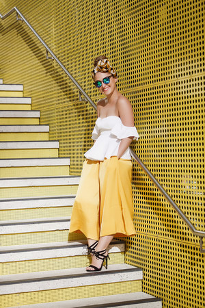 yellow silk culottes seed pants - white off shoulder seed top