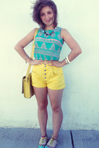 aquamarine top - yellow tooled leather asos bag - yellow vintage shorts