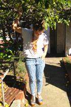 white boyfriend fit asos t-shirt - sky blue aztec print Target jeans