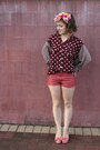 Maroon-op-shopped-blouse-coral-h-m-shorts-bubble-gum-op-shopped-heels