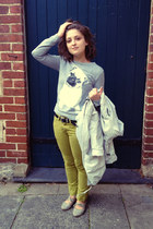 silver spray jacket Op-shopped jacket - chartreuse American Apparel jeans