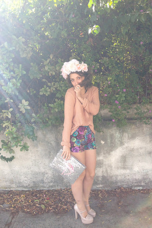 deep purple floral shorts - silver House Of Cards bag
