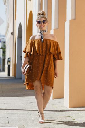 burnt orange off shoulder MLM dress
