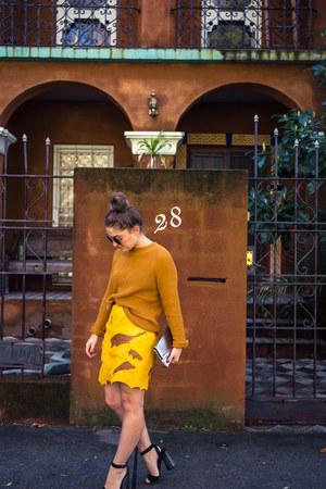 gold leather vintage skirt