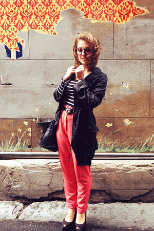 black asos jacket - white asos top - hot pink Forever 21 pants