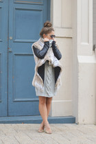 camel faux fur Once Was coat - silver chunky knit Once Was dress