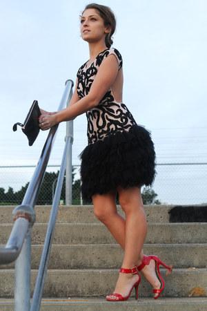 black backless Kuku dress - ruby red betts heels