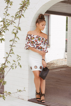 salmon off shoulder top - white fitted eyelet asos skirt