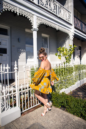 mustard off shoulder Little Lace dress