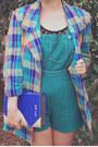 Light-orange-colourful-check-vintage-jacket-blue-book-clutch-asos-bag