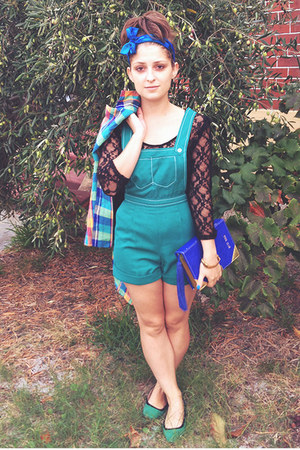 teal overalls vintage romper - light orange colourful check vintage jacket
