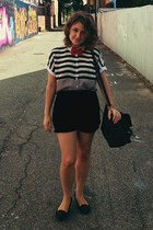 heather gray striped blouse monkii shirt - black Motel shorts