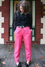 Black-op-shopped-blouse-hot-pink-op-shopped-pants