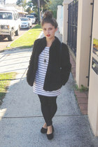 dark brown fur vintage jacket - white MinkPink dress - black Dotti leggings