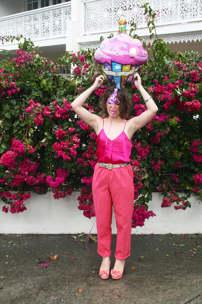 hot pink silk camisole Op-shopped blouse - coral Op-shopped pants