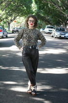 tan leopard print Op-shopped jumper - dark brown Op-shopped pants