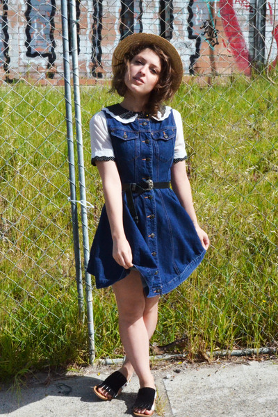 Primark blouse - denim button up op shopped dress - Valleygirl hat