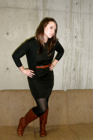 black Target dress - brown Target boots - black Forever 21 tights